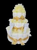 Luiertaart neutraal geel 3-laags (ideaal voor babyshower, kraam- en geboortecadeau)_
