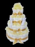 Luiertaart neutraal geel 4-laags (ideaal voor babyshower, kraam- en geboortecadeau)_