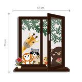 Muursticker raam met uitzicht dierenvrienden_