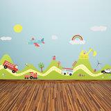 Muursticker auto's, vliegtuig, transport en regenboog_
