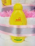 Zwitsal luiertaart meisje 4-laags roze met opdruk baby-naam_