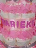 Zwitsal luiertaart meisje 3-laags roze met opdruk baby-naam_