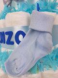 Zwitsal luiertaart 4-laags blauw met opdruk baby-naam_