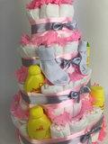 Zwitsal luiertaart meisje 4-laags roze (ideaal voor babyshower, kraam- en geboortecadeau)_
