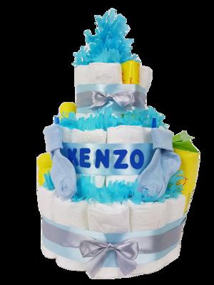 Zwitsal luiertaart 3-laags blauw met opdruk baby-naam