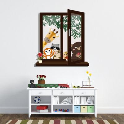 Muursticker raam met uitzicht dierenvrienden