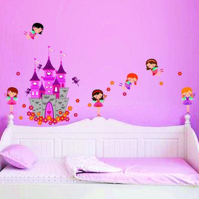 Muursticker roze prinsessen kasteel