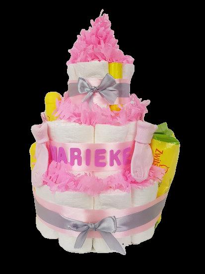 Zwitsal luiertaart meisje 3-laags roze met opdruk baby-naam