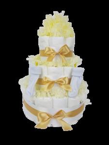 Luiertaart neutraal geel 3-laags (ideaal voor babyshower, kraam- en geboortecadeau)