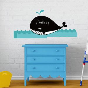 Muursticker walvis krijtbord