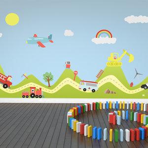 Muursticker auto's, vliegtuig, transport en regenboog
