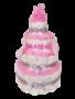 Luiertaart meisje 4-laags roze met opdruk naam