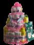 Zwitsal luiertaart meisje 4-laags roze (ideaal voor babyshower, kraam- en geboortecadeau)