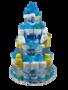 Zwitsal luiertaart 4-laags blauw met opdruk baby-naam